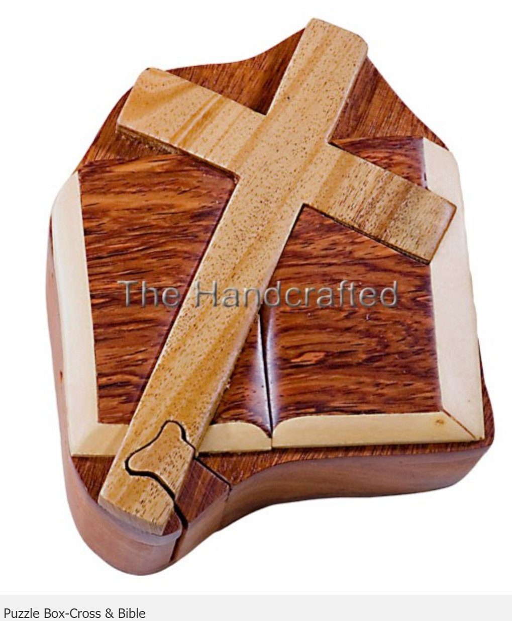 Cross and Bible Secret Intarsia Wood Puzzle Box