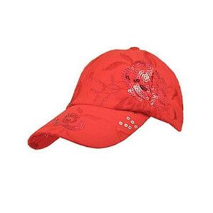 CS-162 Sequined Ball Cap Sparkle Cap Red.