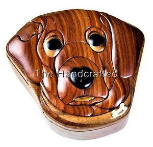 Dog Secret Intarsia Wood Puzzle Box