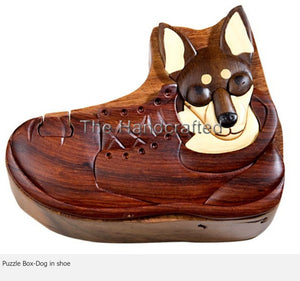 Dog in Shoe Secret Intarsia Wood Puzzle Box