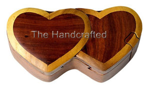 Hand-Carved-in-Vietnam-Wood-Double Heart-Puzzle-Box-Intarsia