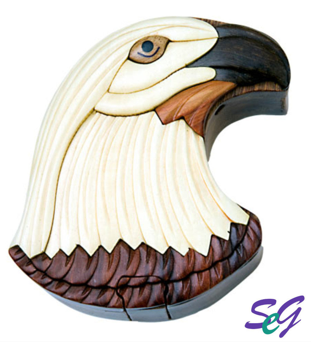 Hand-Carved-in-Vietnam-Wood-EAGLE-HEAD-Puzzle-Box-Intarsia-Wood.