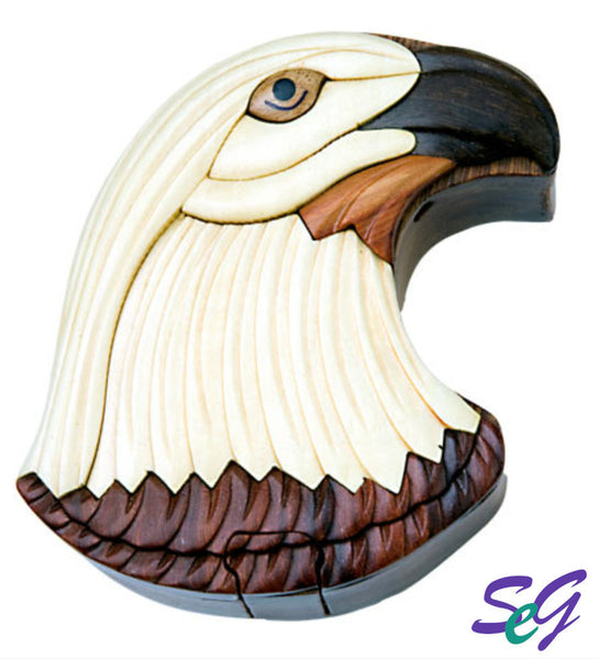 Hand-Carved-in-Vietnam-Wood-EAGLE-HEAD-Puzzle-Box-Intarsia-Wood