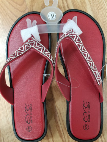 EVE WOMEN'S SANDALS Bling Studded Flip Flops Toe Thong- RED