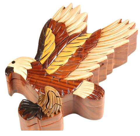 Hand-Carved-in-Vietnam-Wood-Flying Eagle-Puzzle-Box-Intarsia