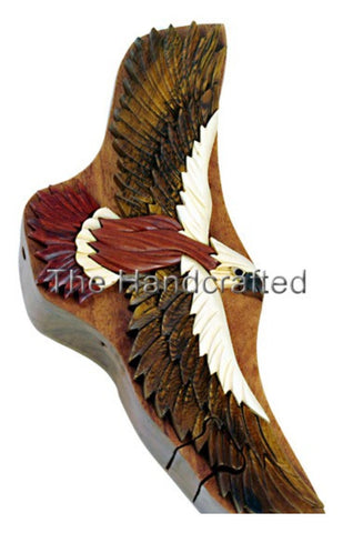 Hand carved Four Piece HAWK INTARSIA Wood Puzzle Box