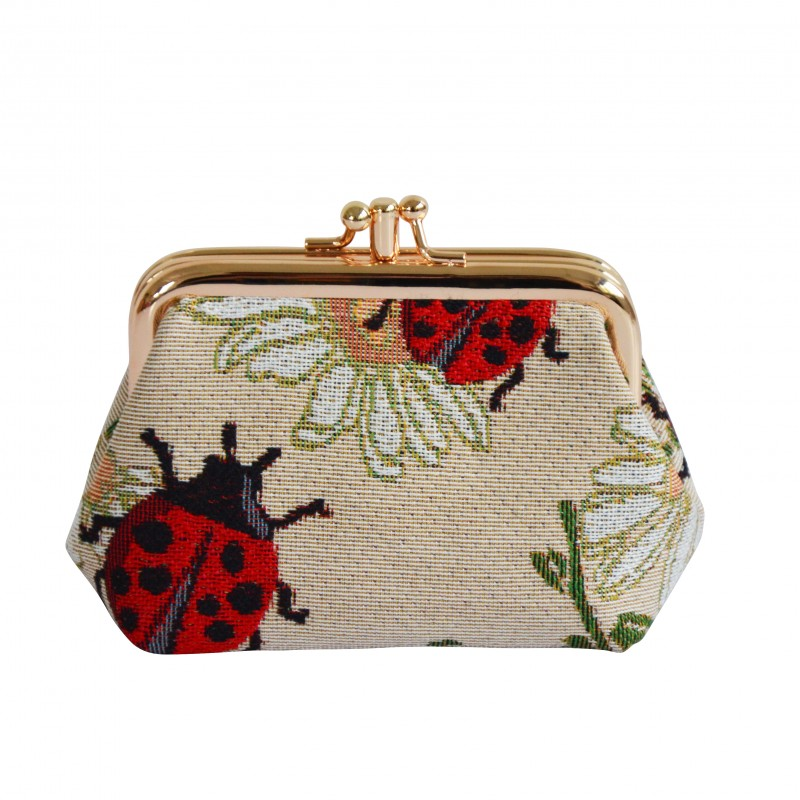 Signare Lady Bug / Lady Bird Double Section Coin Frame Purse Tapestry.