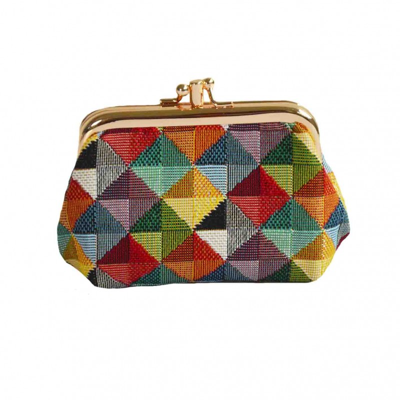 Signare Colorful Multi-Color Triangles Double Section Coin Frame Purse Tapestry