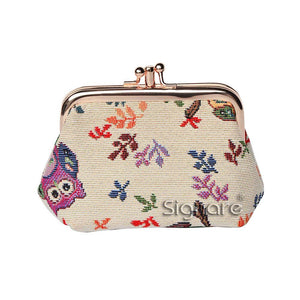 Signare Owl Double Section Coin Frame Purse Tapestry