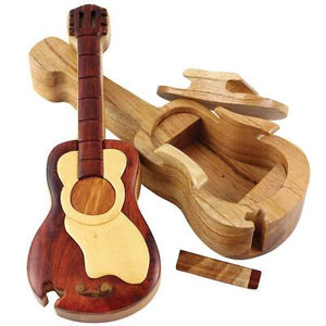 Four Piece Guitar INTARSIA Wood Puzzle Box.