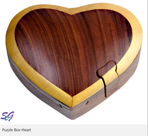 Heart Secret Intarsia Wood Puzzle Box.