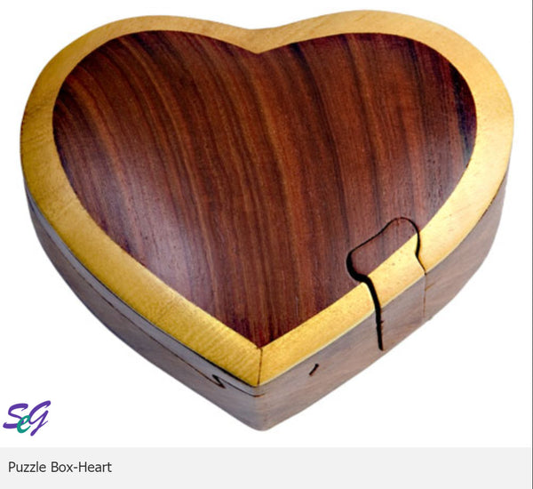 Heart Secret Intarsia Wood Puzzle Box