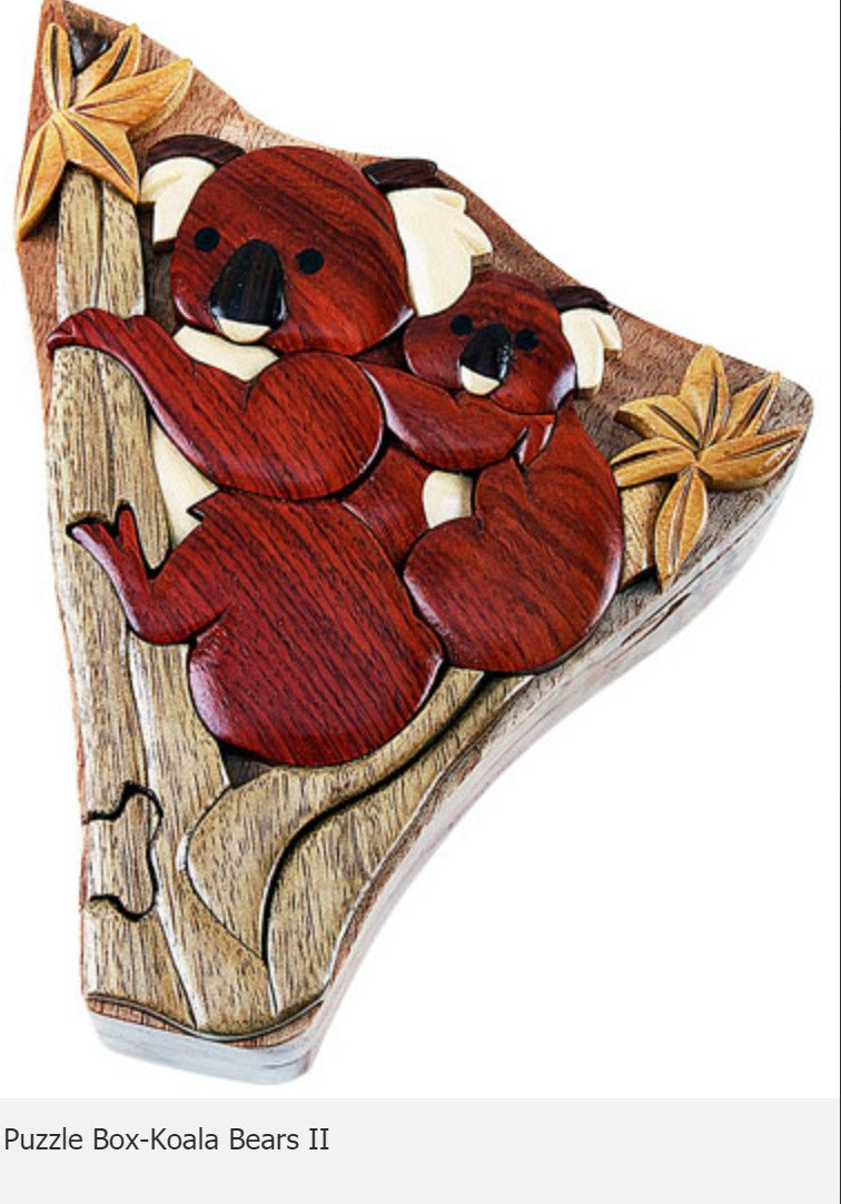 Koala Bears II Secret Intarsia Wood Puzzle Box