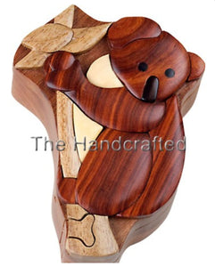 Hand-Carved-in-Vietnam-Wood-Koala Bear-Puzzle-Box-Intarsia-Wood.