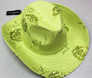 CS-151 Sequined Cowboy Hat, Cowgirl Hat Adjustable Lime.