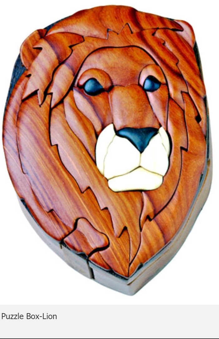 Lion Secret Intarsia Wood Puzzle Box.