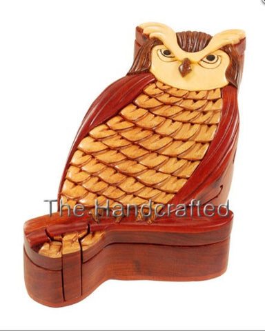 Hand-Carved-in-Vietnam-Wood-Owl-Puzzle-Box-Intarsia-Wood