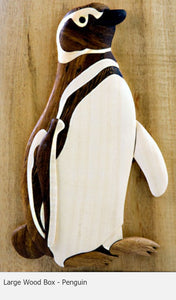 Intarsia Wood Large Wood Box Penguin