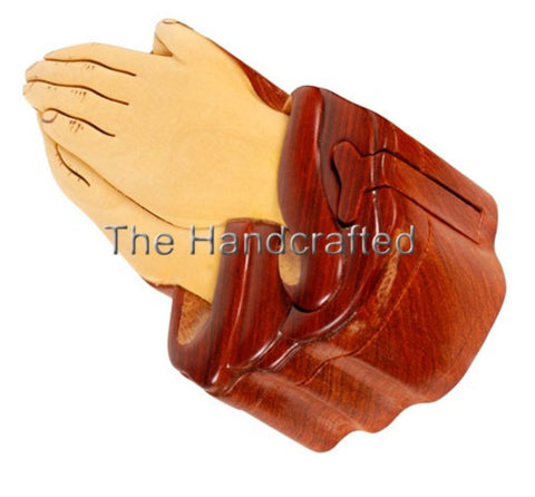Hand Carved in Vietnam Wood PRAYING HANDS Puzzle Box.