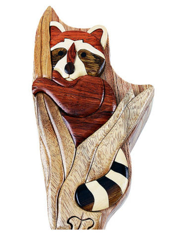 Hand-Carved-in-Vietnam-Wood-Raccoon-Puzzle-Box-Intarsia-Wood