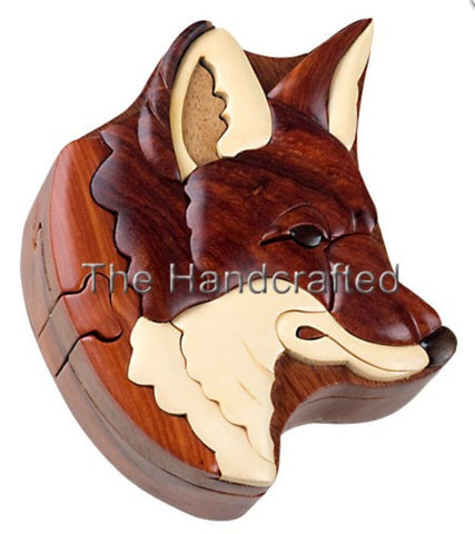 Hand-Carved-in-Vietnam-Wood-Red Fox-Puzzle-Box-Intarsia-Wood.