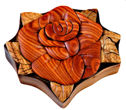 Hand Carved in Vietnam Wood ROSE Puzzle Box- Intarsia Wood Art