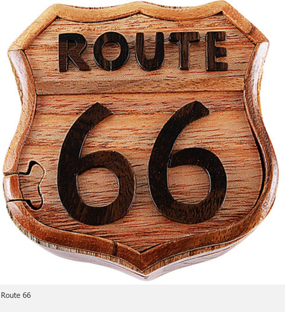Route 66 Secret Intarsia Wood Puzzle Box.