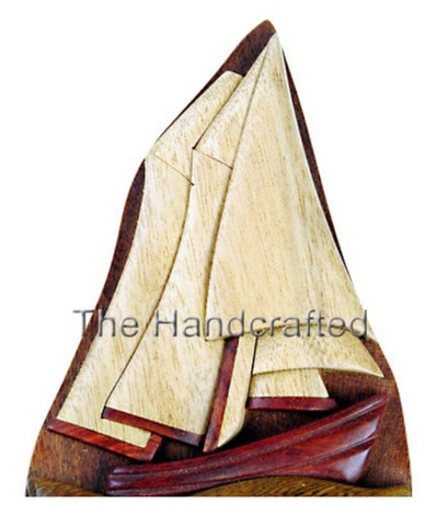 Hand-Carved-in-Vietnam-Wood-Sailboat-Puzzle-Box-Intarsia-Wood