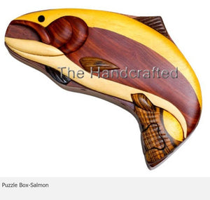 Salmon Secret Intarsia Wood Puzzle Box