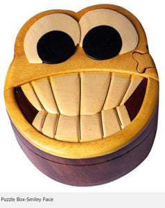 Smiley Face Secret Intarsia Wood Puzzle Box.