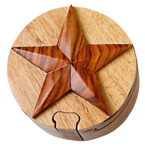 Hand Carved in Vietnam Wood STAR Puzzle Box
