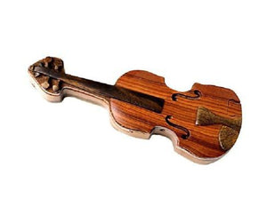NEW Four Piece Violin INTARSIA Wood Puzzle Box