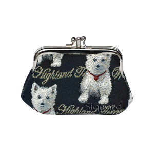 Signare Westie Dog Double Section Coin Frame Purse Tapestry