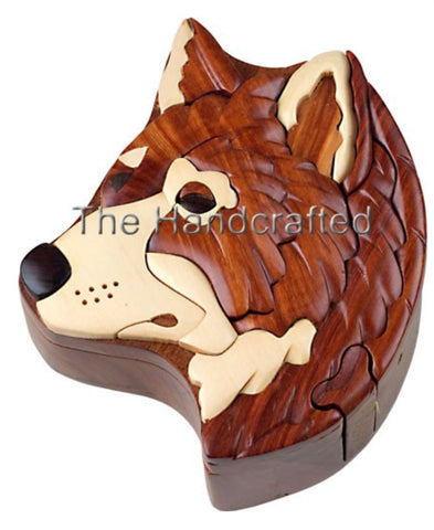 Hand-Carved-in-Vietnam-Wood-Wolf Head-Puzzle-Box-Intarsia-Wood
