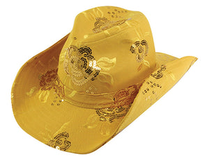 CS-151 Sequined Cowboy Hat, Cowgirl Hat Adjustable Yellow