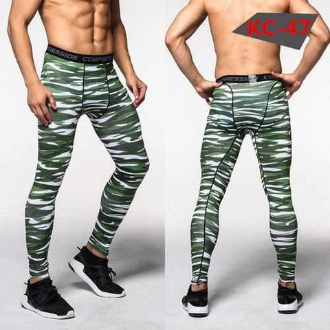 Image of Men's Sports Pro Compression Camouflage Running Fitness Basketball Football Training Pants - AMGA FIT