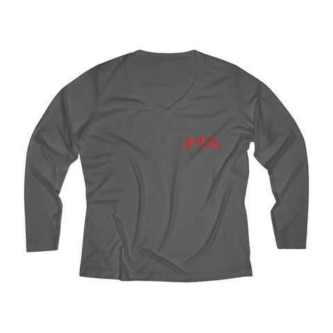 Image of AMGA Women Fitness Saves Lives Breathable Moisture Wicking Long Sleeve Performance V-neck Shirt - AMGA FIT