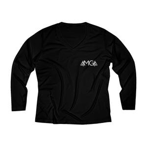 AMGA Women Fitness Saves Lives Breathable Moisture Wicking Long Sleeve Performance V-neck Shirt - AMGA FIT