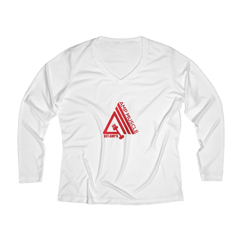 Image of AmpMuscle Women Breathable Moisture Wicking Long Sleeve Performance V-neck Shirt - AMGA FIT