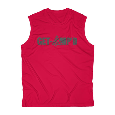 Image of Get Amp'd Breathable Sweat-Wicking Sleeveless Performance Muscle T-Shirt - AMGA FIT