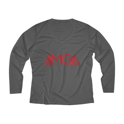 Image of AMGA Women Breathable Moisture Wicking Long Sleeve Performance V-neck Shirt - AMGA FIT