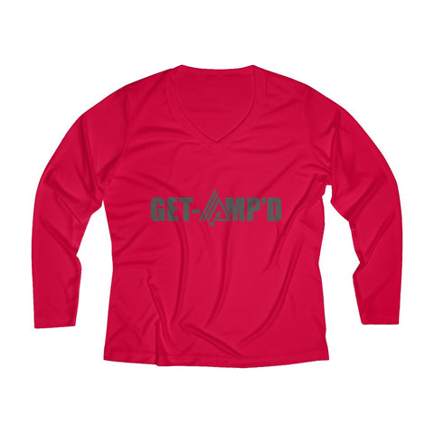 Image of Get Amp'd Women Breathable Moisture Wicking Long Sleeve Performance V-neck Shirt - AMGA FIT