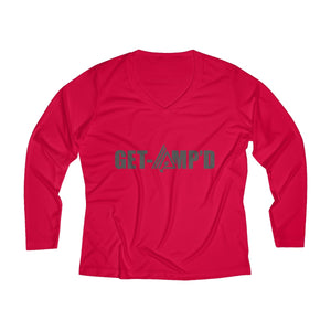 Get Amp'd Women Breathable Moisture Wicking Long Sleeve Performance V-neck Shirt - AMGA FIT