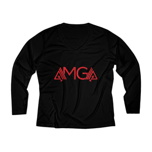 AMGA Women Breathable Moisture Wicking Long Sleeve Performance V-neck Shirt - AMGA FIT