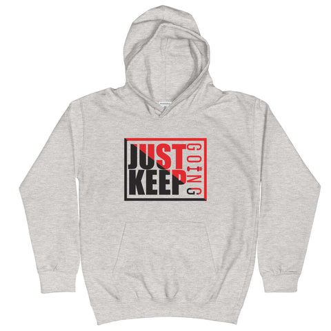 Image of Just Keep Going Unisex Kids Youth Drawcordless Earphone Pocket Double Fabric Hoodie - AMGA FIT