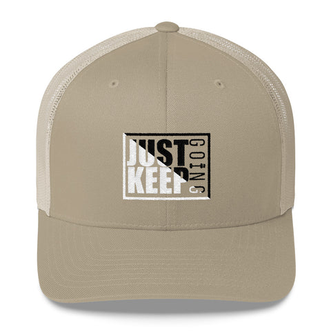 Image of Just Keep Going Mid-Profile Mesh Adjustable Classic Trucker Hat - AMGA FIT