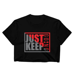 Just Keep Going Women's Fitted Raw Hem Crop Top - AMGA FIT