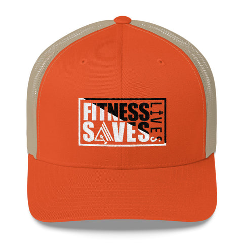 Image of Fitness Saves Lives Mid-Profile Mesh Adjustable Classic Trucker Hat - AMGA FIT