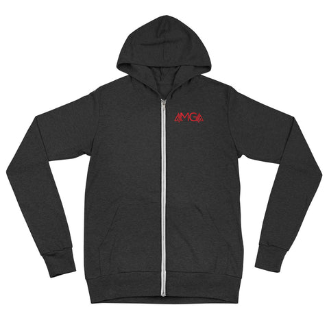 Image of AMGA Fitness Saves Lives Modern Lightweight Unisex Zipper Hoodie Jacket - AMGA FIT