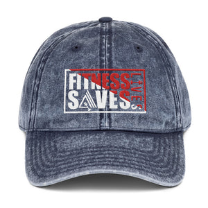 Fitness Saves Lives Vintage Low Profile Adjustable Dad Hat - AMGA FIT